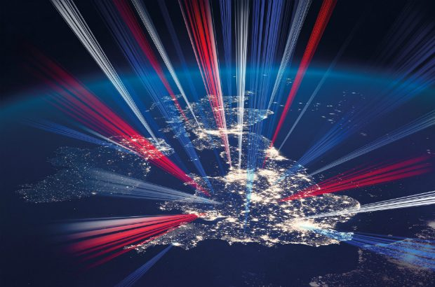 Illustration of the UK at night with red, white and blue lasers shooting into space (detail of the Industrial Strategy front cover).