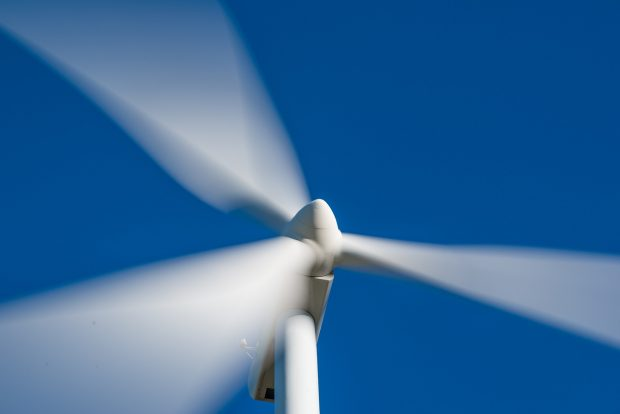 Close-up of a wind turbine.