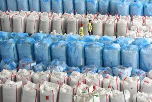 Bags of plastic at the Coca Cola Lincolshire plant.
