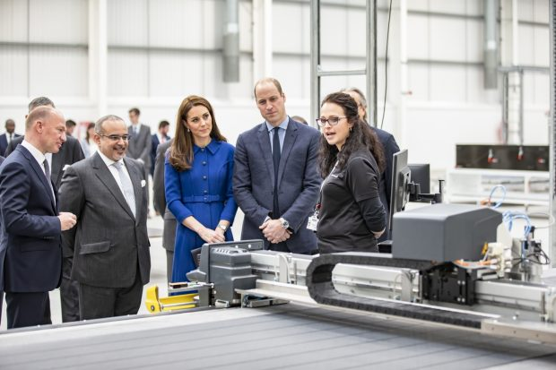 Picture of the Duke and Duchess of Cornwall talking to workers in the newly opened McLaren Composites Technology Centre in Sheffield.