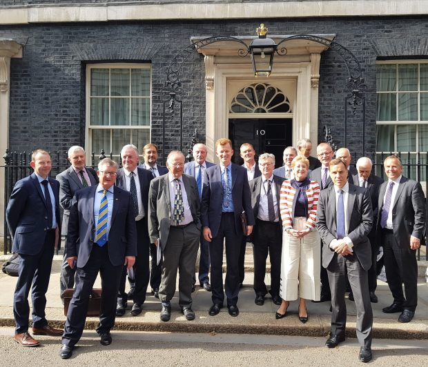 Picture of all Local Enterprise Partnership chairs outside 10 Downing Street after a meeting with the Prime Minister in June 2018.