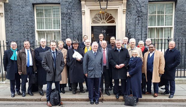 LEP leaders outside Number 10 Downing Street.