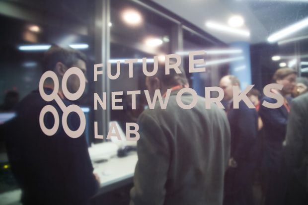 Future Networks Lab door with branding