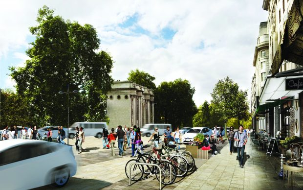 Artist's impression of the area around marble arch with more space for pedestrians